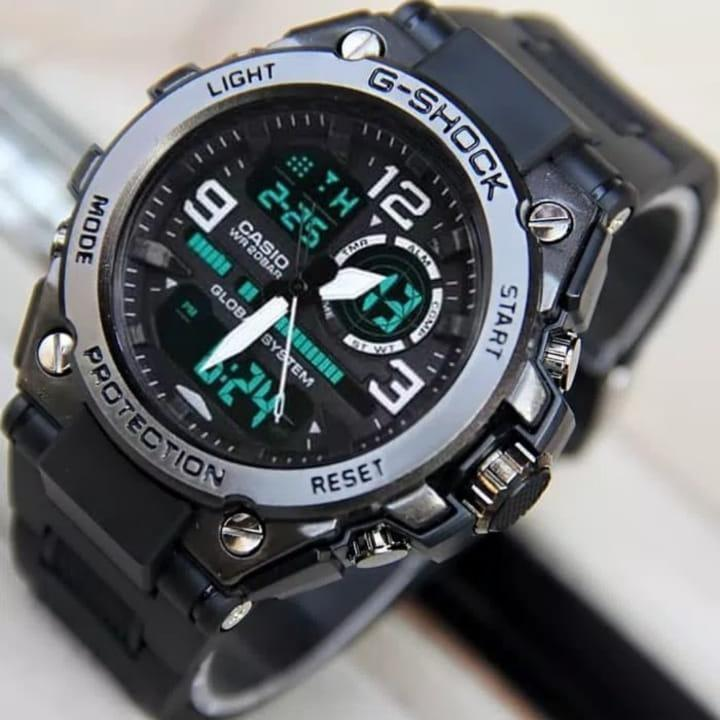 special edition casio - jam tangan pria sporty Casio G - dual time - black rubber