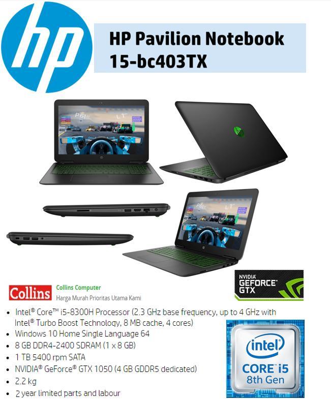 LAPTOP HP PAVILION 15-BC403TX - I5-8300|8GB|1TB|GTX1050