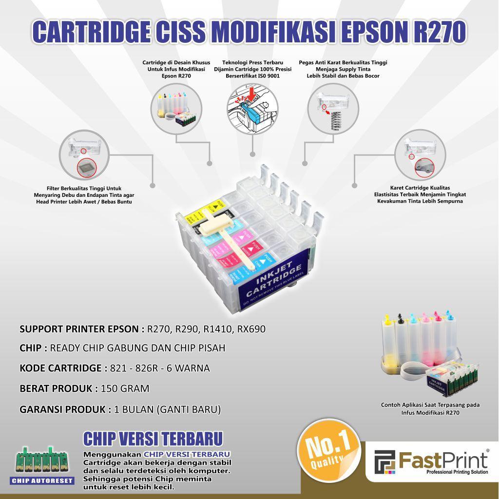 Murah Cartridge CISS Infus Modif Epson R270 R290 R1410 RX690 Kode
