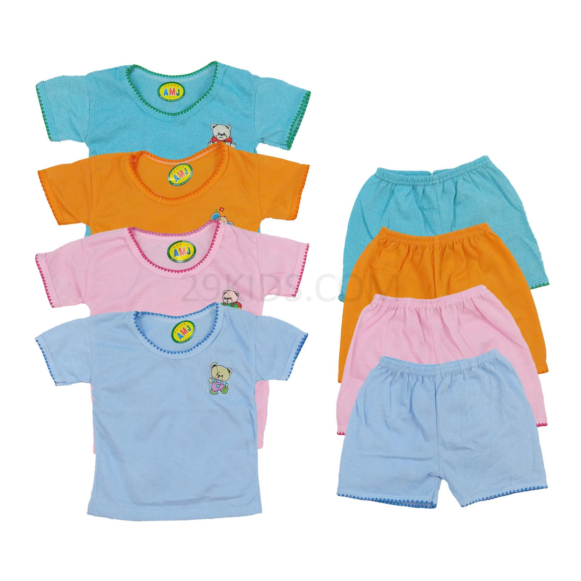 3 Pcs - Setelan Kaos Lengan Pendek Bayi Murah