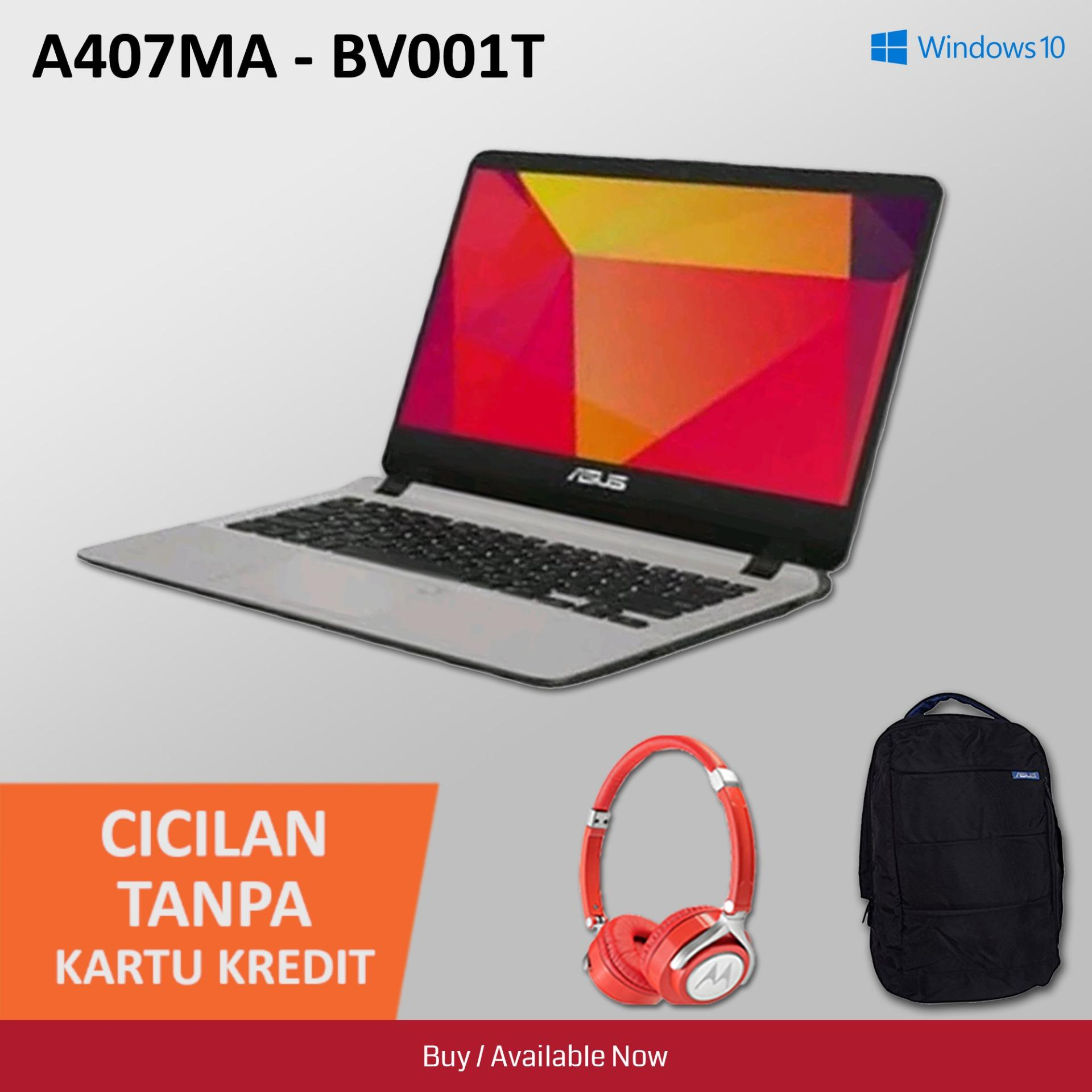 Asus A407MA Notebook - [14 Inch/ N4000/ 4GB/ 1TB/ Win10] + Headphone Motorola & Backpacks