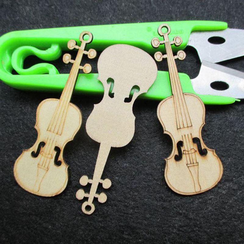 10 Pcs Unfinished Violin Sheap Wood Cutout Chips For Board Game Pieces Arts Crafts Projects Ornaments