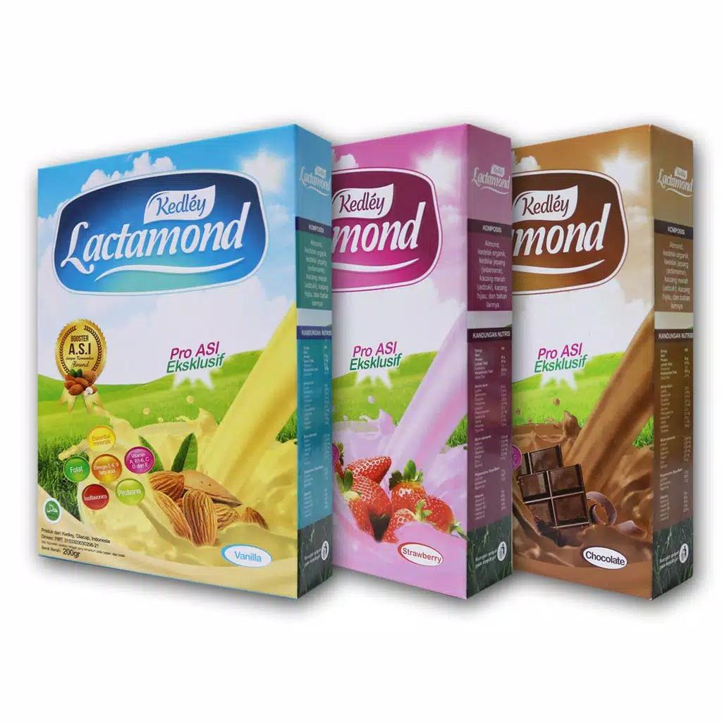 Paket Hemat Susu Lactamond Booster ASI isi 3 Kotak rasa vanila,coklat, stobery - 200gr