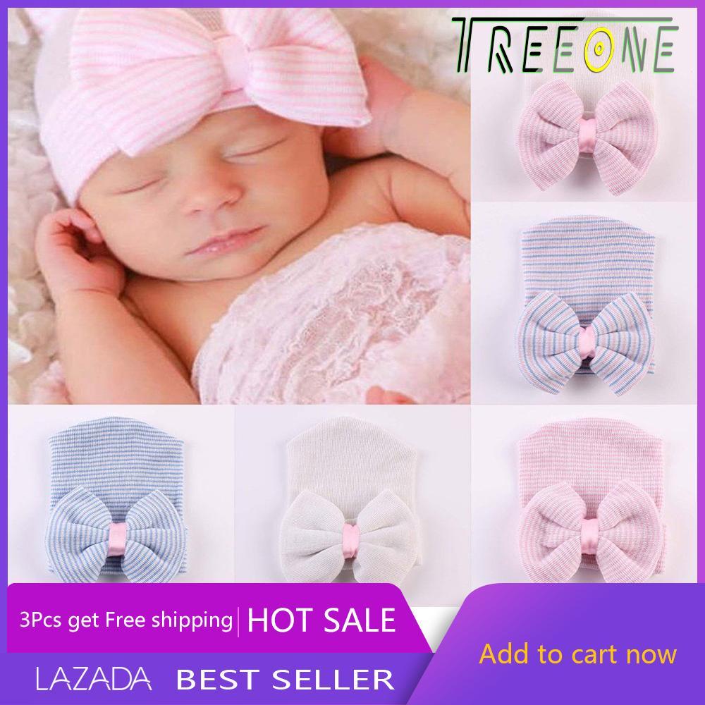 Treeone Newborn Baby Comfy Bowknot Hospital Knitted Crochet Cap By Treeone.