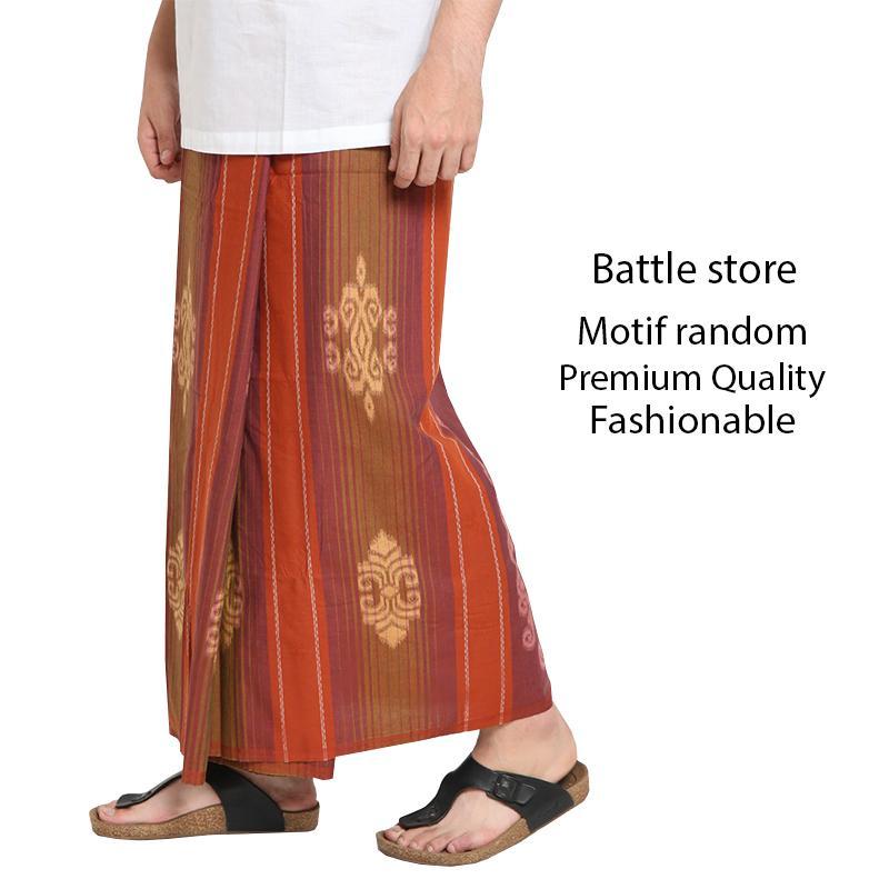 Sarung Pria Muslim Tenun Al-Makmur - Sarung Muslim Pria Kualitas Premium - Sarung Muslim Pria Motif Songket - Sarung Murah - Random Warna