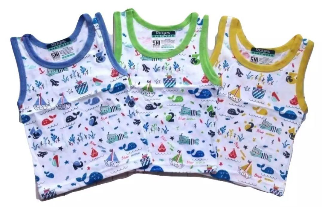 3pcs Baju Anak Kutung Ridges - Baju Singlet Anak bayi harian tokonees