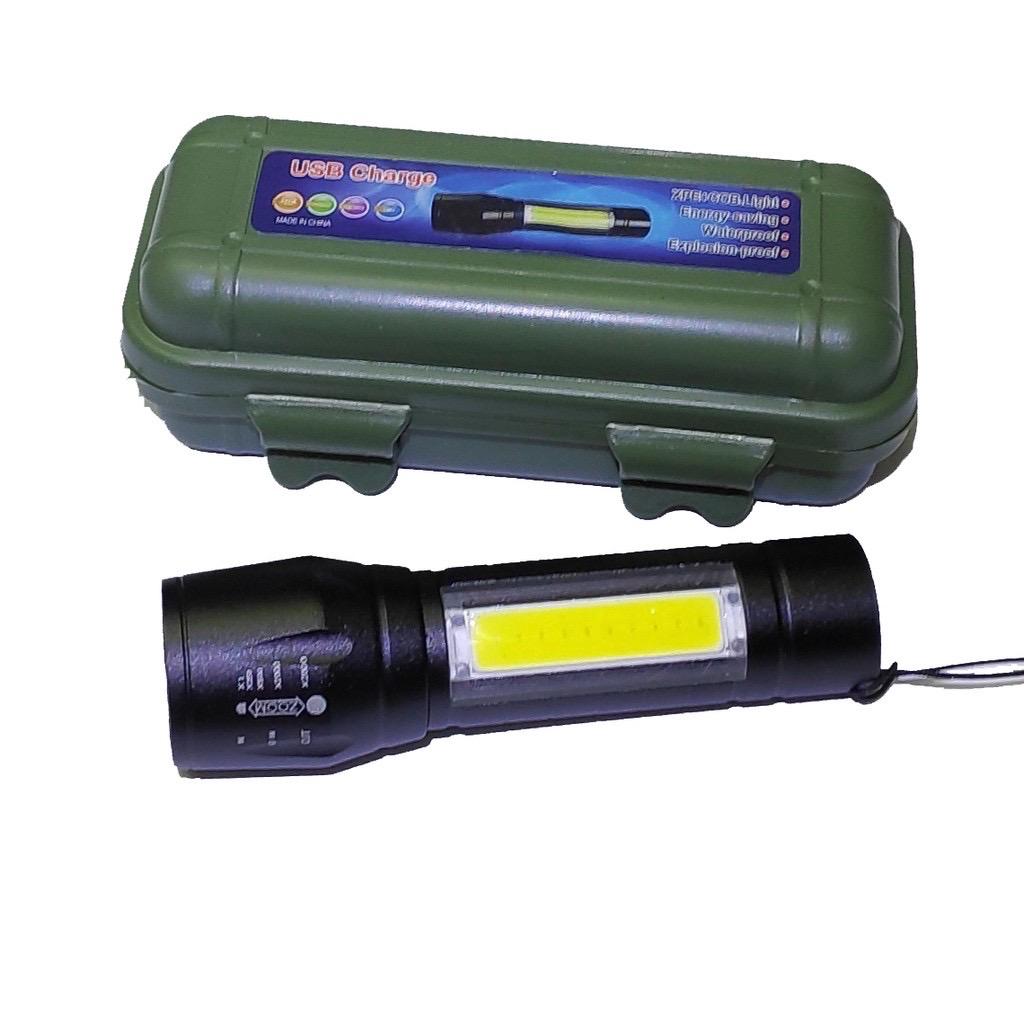 Senter Mini XPE COB Led Swat Police Light Recharge