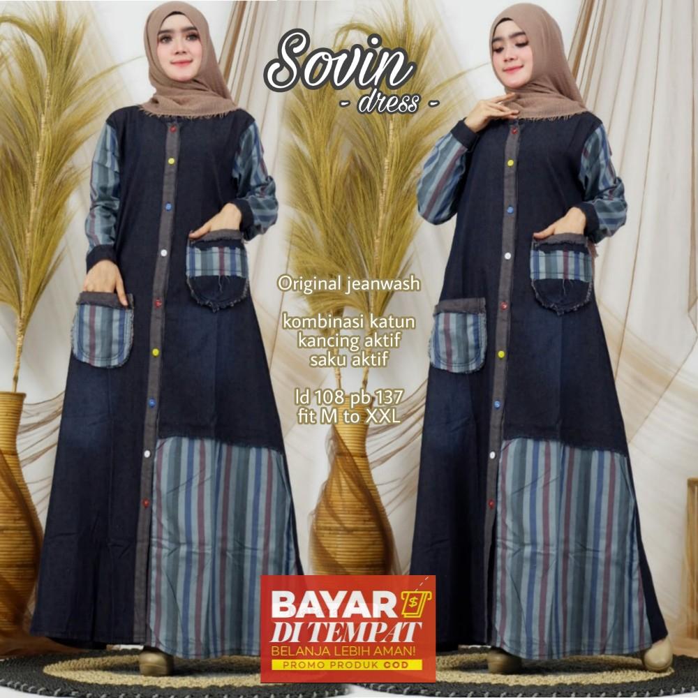 Gamis Jeans Jumbo Wanita Terbaru Sovin Maxy Jeans Dress Jeans Garis Mix Katun Gamis Muslim Wanita Busui Termurah Lazada Indonesia