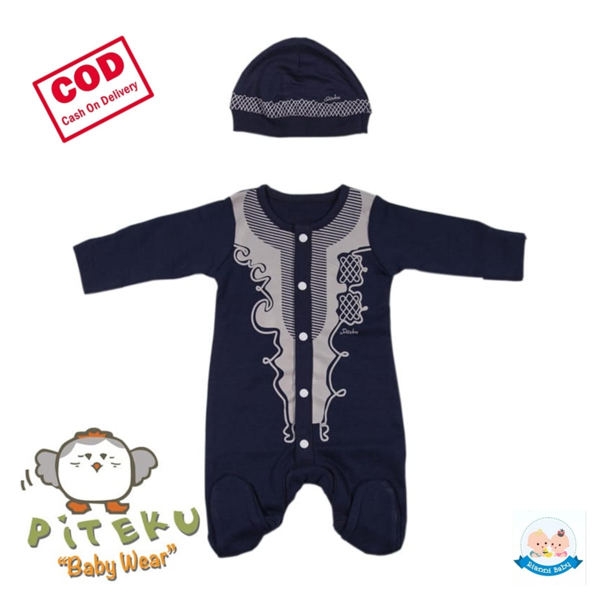 Rianni Baju Aqiqah Bayi Biru Dongker / Jumper Koko Bayi Laki-Laki New Born (