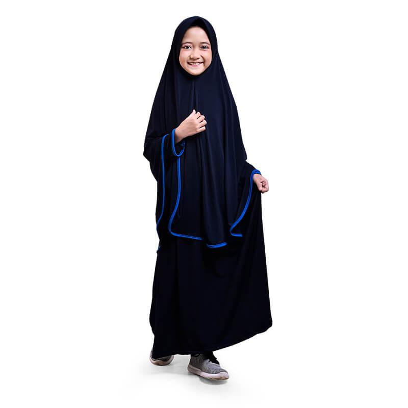 BAJUYULI - Baju Muslim Gamis Anak Perempuan Syar'i Jersey Murah Cantik - Navy