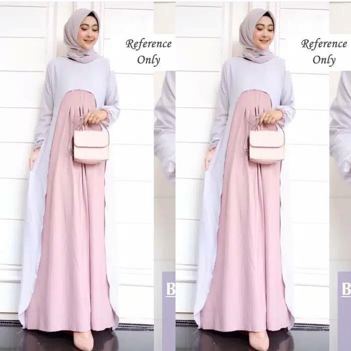 Gamis Muslim Wanita Dress Muslim Bernessa Maxi Woolycrepe | Lazada Indonesia