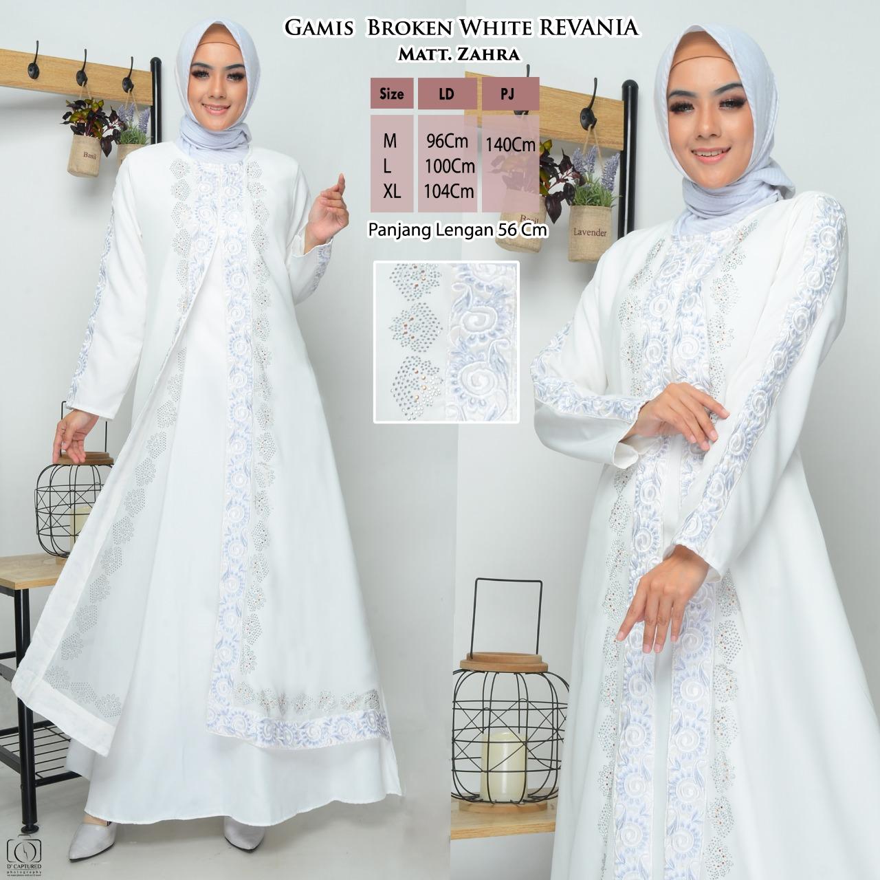 Gamis Revania Putih / Gamis Pengantin Akad Nikah / Gamis Wanita Remaja  Dewasa Warna Putih / Gamis Modern Putih / Gamis Syari Terbaru / Busana  Muslim