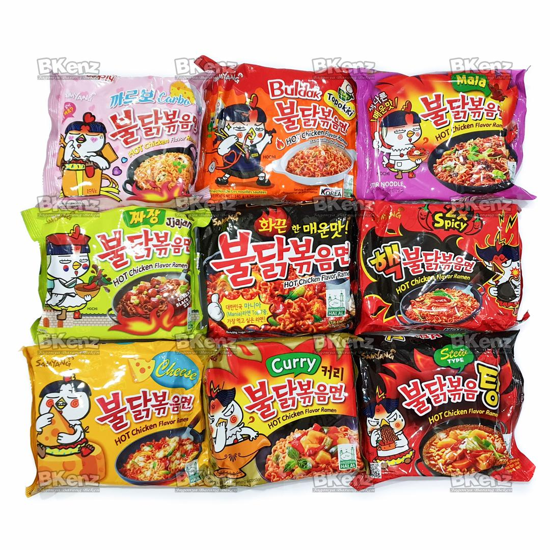 Samyang Paket 9 Rasa Spicy Topokki Mala Carbo Jjajang Nuclear Cheese Curry Stew