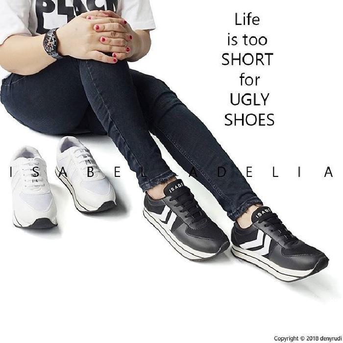 Isabel PRILLY Sepatu Kets Olahraga Casual Santai Wanita - Hitam, 37