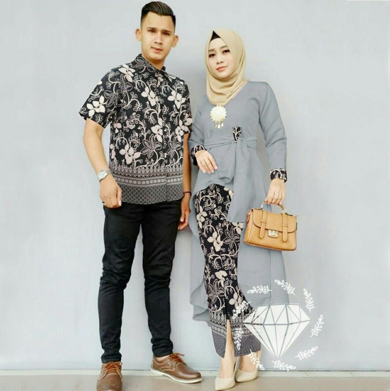 Kedaibaju Couple Harum Batik / Busana Muslim High Quality / Couple Muslim / Maxi Muslim Bahan Premium / Baju Pasangan Pria Wanita / Baju Lebaran Batik Nusantara BISA COD