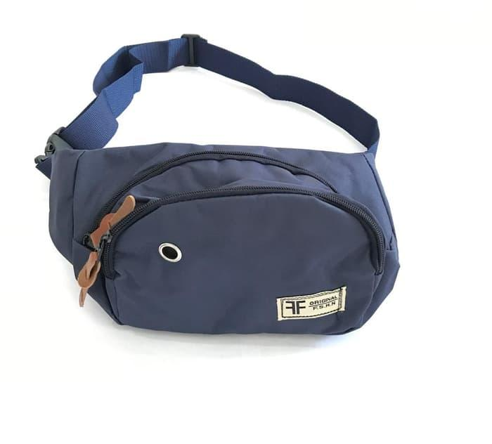 Tas Selempang Original / Waistbag Canvas - Wb Canvas Navy By Fashionista Store.