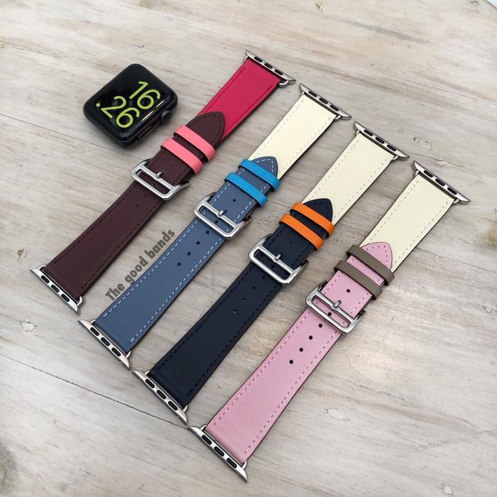 Strap tali Apple Watch 1 2 3 4 Hermes Single Leather kulit 42mm 44mm