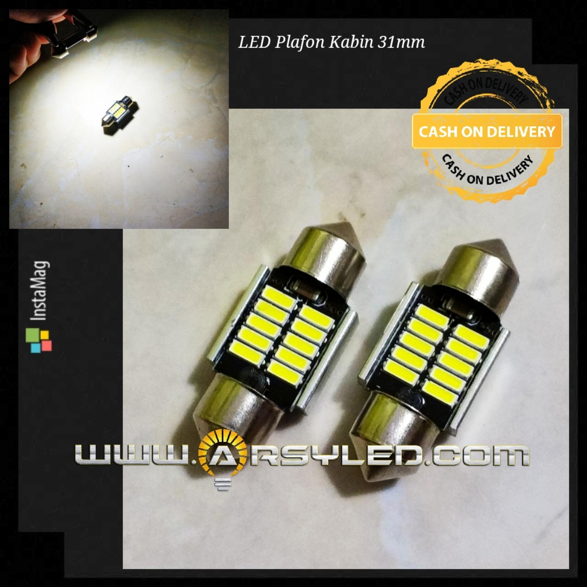2 Biji Lampu Kabin Plafon Canbus 31 Mm 12 Titik 4014 Festoon C5w Arsystore Arsy - Putih By Arsystore.