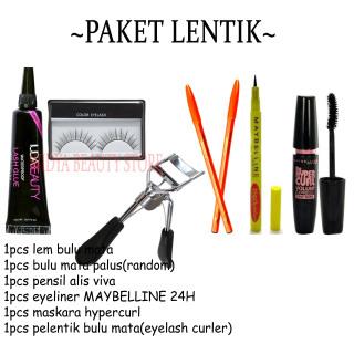PAKET LENTIK PRIMER MATA 6in1 Mascara Hypercurl - Eyeliner Extra Heavy 24H - Pensil Alis Viva - Eyelash Curler - Bulumata Palsu - Lem Bulumata thumbnail
