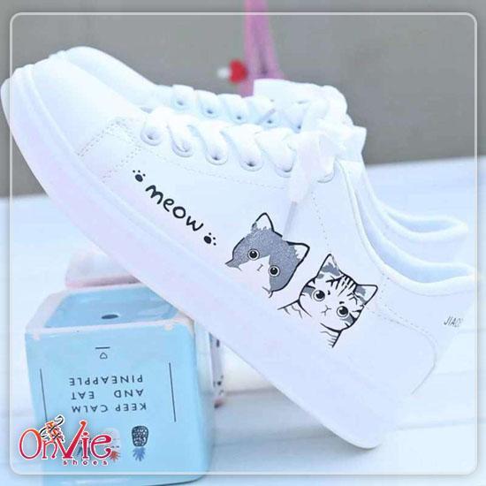 Onvie Sepatu Kets Sneakers Wanita Motif MEOW - Kets Lucu SEPATU WANITA NEW FASHION