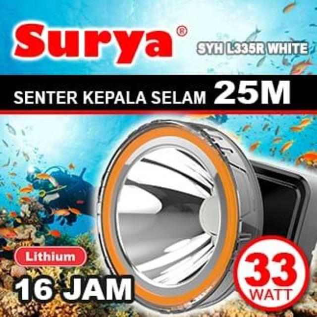 Surya Senter Kepala Selam Led Super Terang Lithium Syh L335r Lampu Putih 33 Watt Super Led Rechargeable Free Cable Bundle 16 Hours By Elektronik Rumah.
