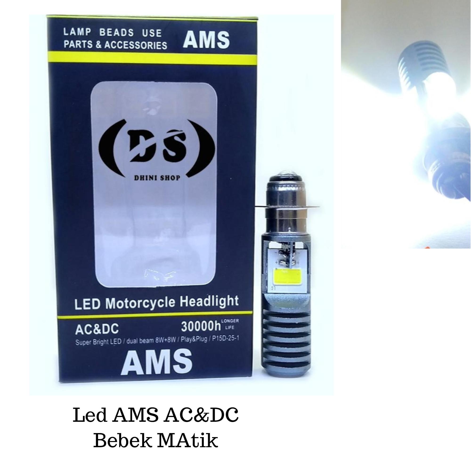 Lampu Depan Led AMS 2Sisi Led 5/6 Watt 6000K Sinar Putih Led Motor Bebek dan Matik
