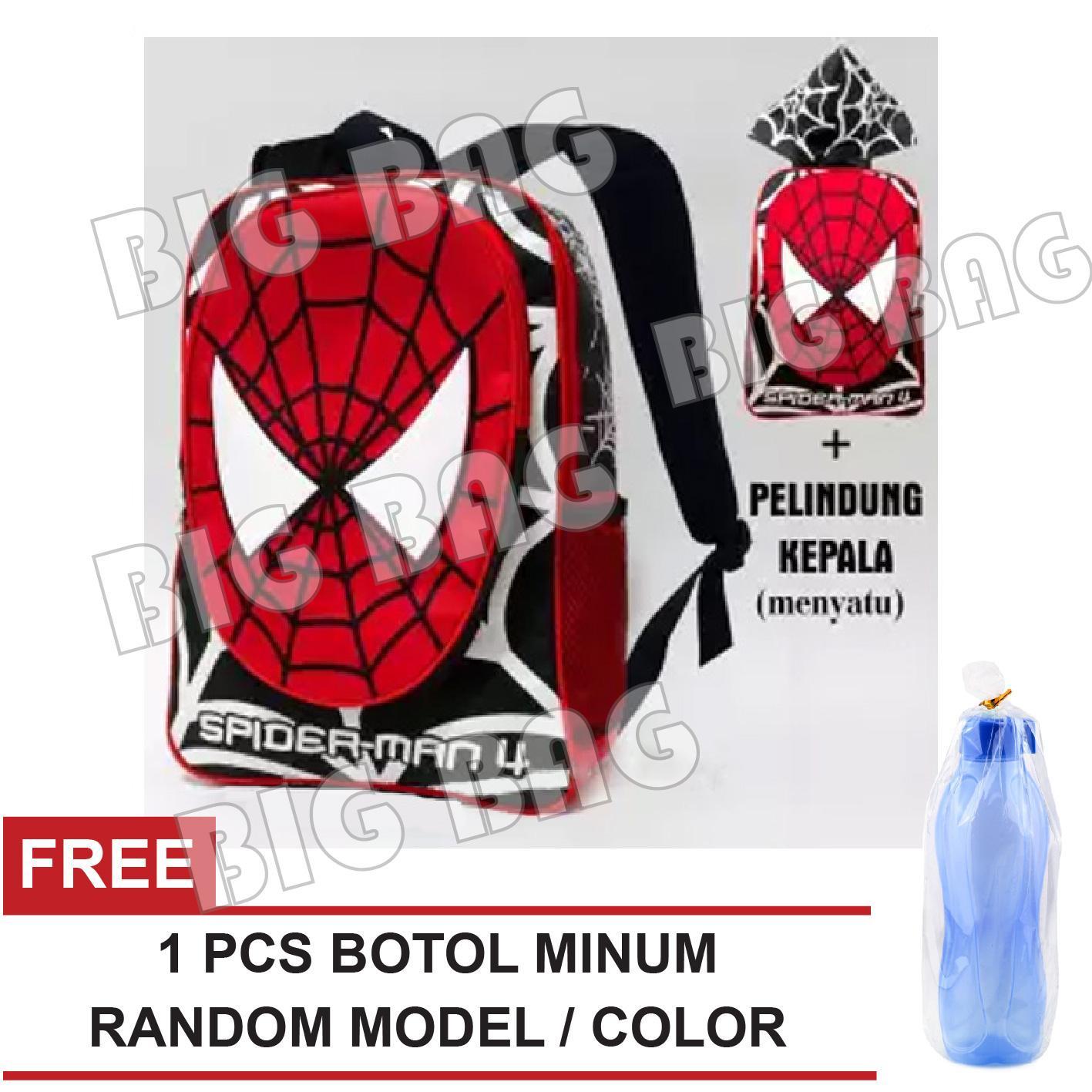 Tas Ransel Anak Laki Laki Karakter - Spiderman Hoodie   Bonus Tutup Kepala  + FREE Botol 8e4125cd2b