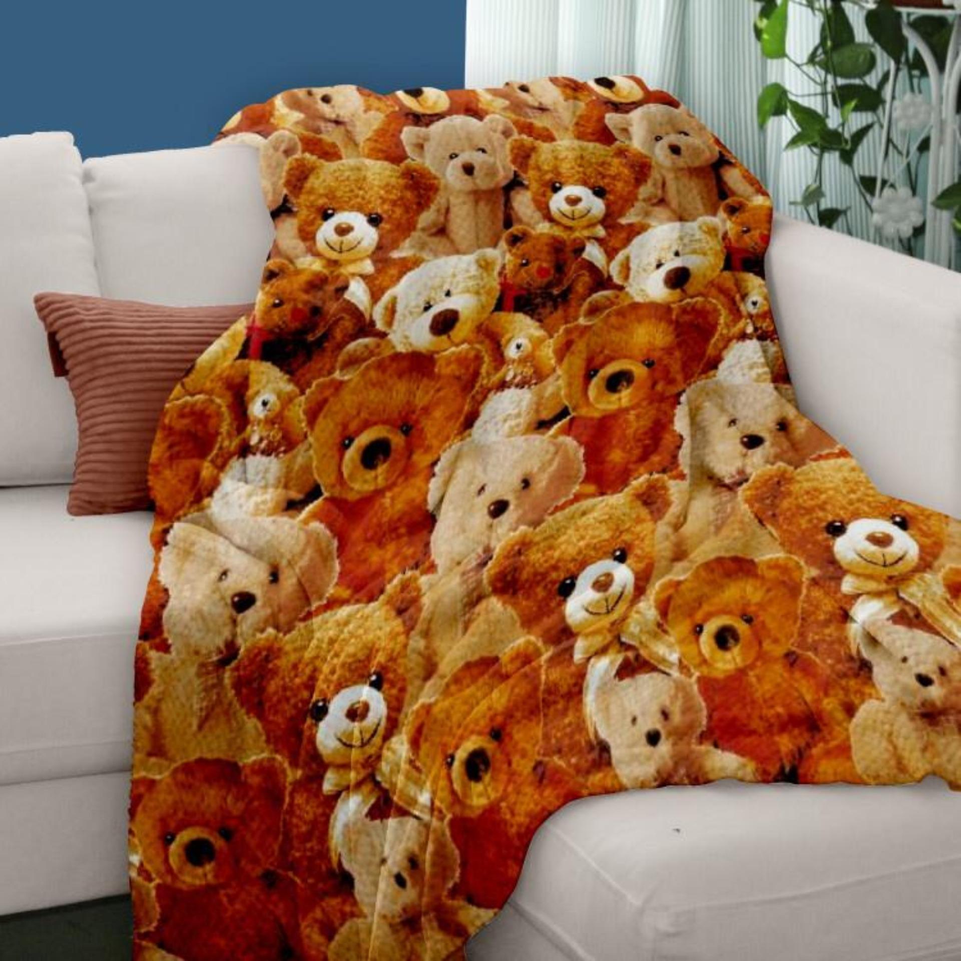 selimut bulu halus motif karakter anak beruang 140x200 super halus super lembut impor termurah