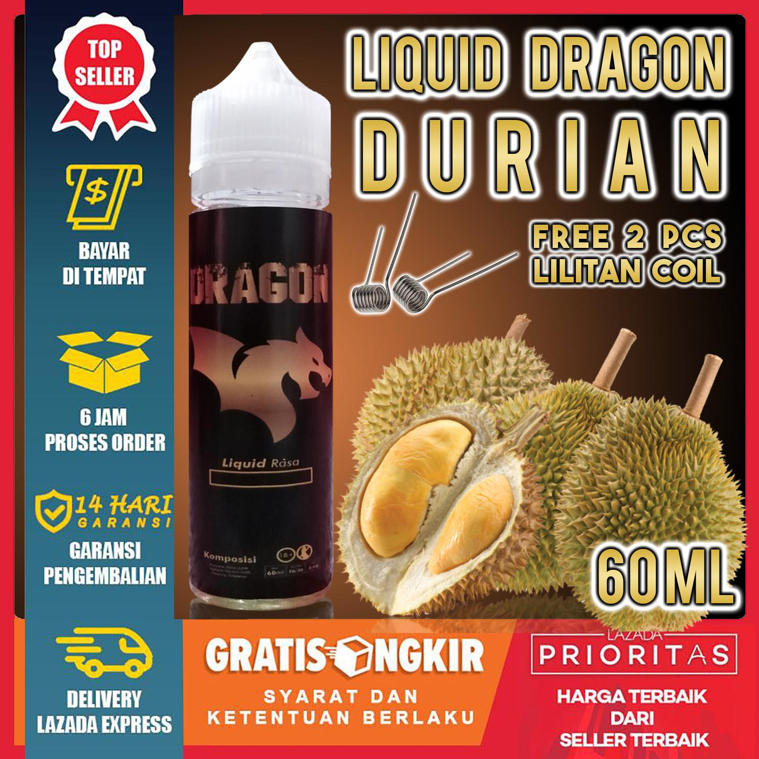 [ Free 2 Lilitan Coil ] Liquid Dragon 60ml Rasa Durian By Aka.com.