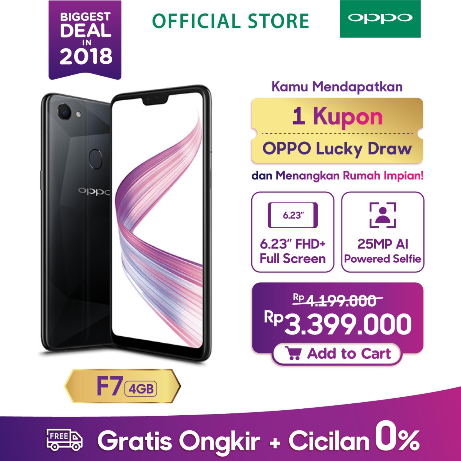 OPPO F7 SMARTPHONE 4GB/64GB Black , Face Unlock, Al-Powered Selfie 25 MP (COD, Garansi Resmi OPPO, Cicilan tanpa kartu kredit, Cicilan 0%, Gratis Ongkir)