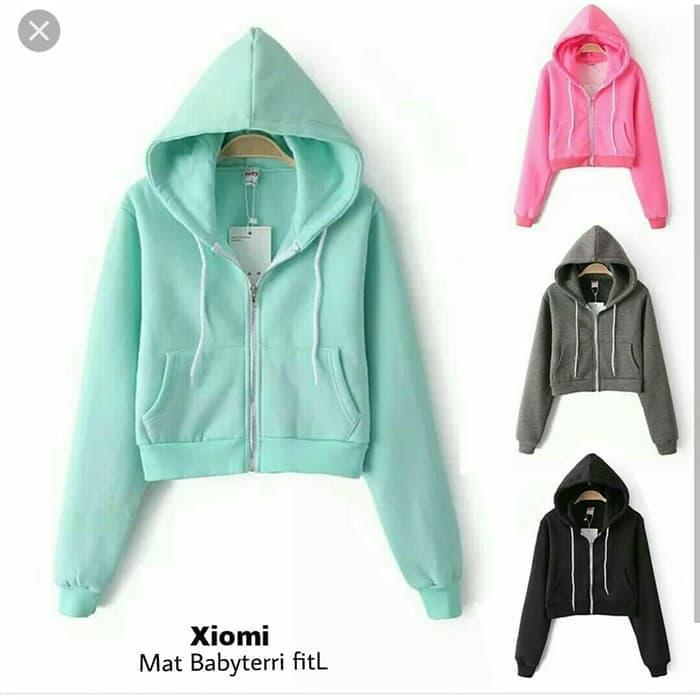 BlessCollection. Jaket Wanita Crop Hoodie XIOMI Polos 6 Warna