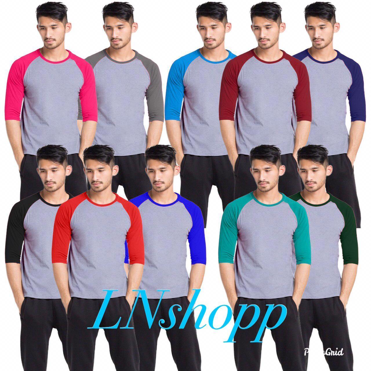 Kaos raglan polos lengan 3/4 Pria / fashion pria / baju raglan pria / kaos distro