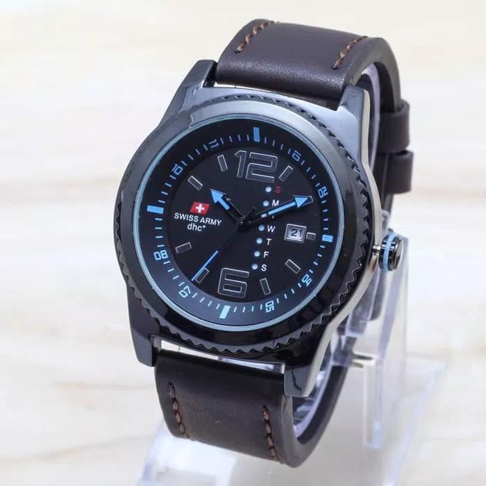BISA BAYAR DI TEMPAT (COD) Jam Tangan Pria SWISS ARMY TaLi KuliT (Leather Strap) jam tangan model baru, jam tangan keren Limited edition (Tanggal Aktif)
