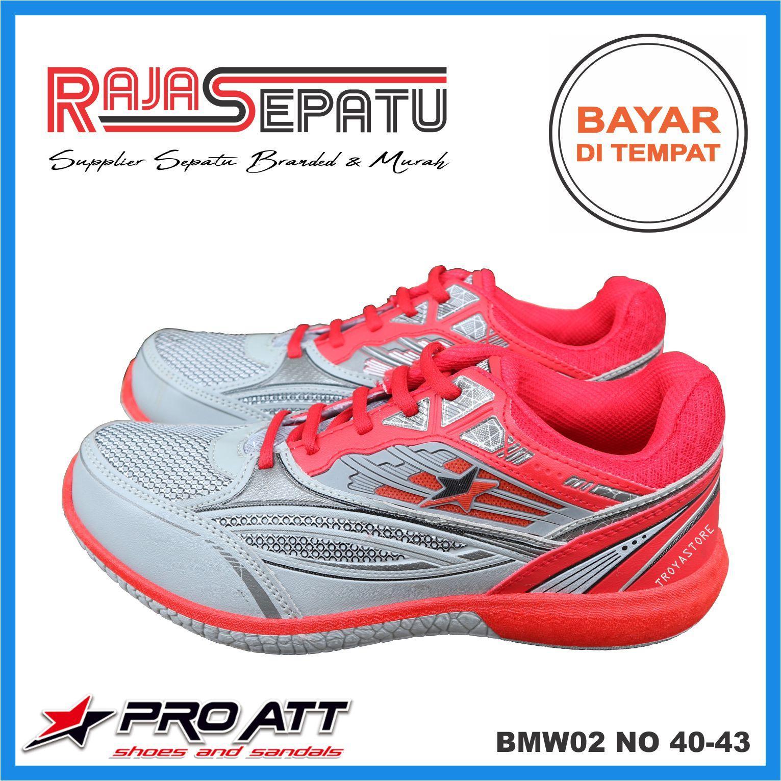 RAJASEPATU - PRO ATT Sepatu Pria Murah BMW02 Original   Sepatu Sneaker Sport  TroyaStore Abu Merah 73259a7ea4