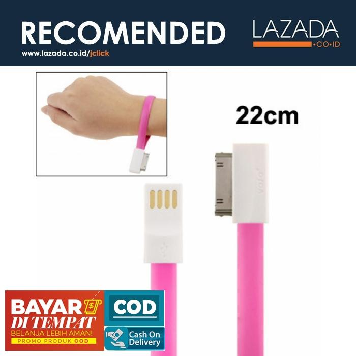 Pure Color Noodle Bracelet Style Magnet USB to Dock Cable 22 cm for iPhone 4 & 4S - Warna Magenta