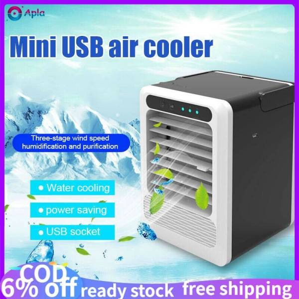 [Apla] [Shipping within 24 hours]【in stock】 USB Portable Mini Air Conditioner Cool Cooling Humidifier For Office/Home Living Room/Kitchen/ Bedroom Artic Air Cooler Fan