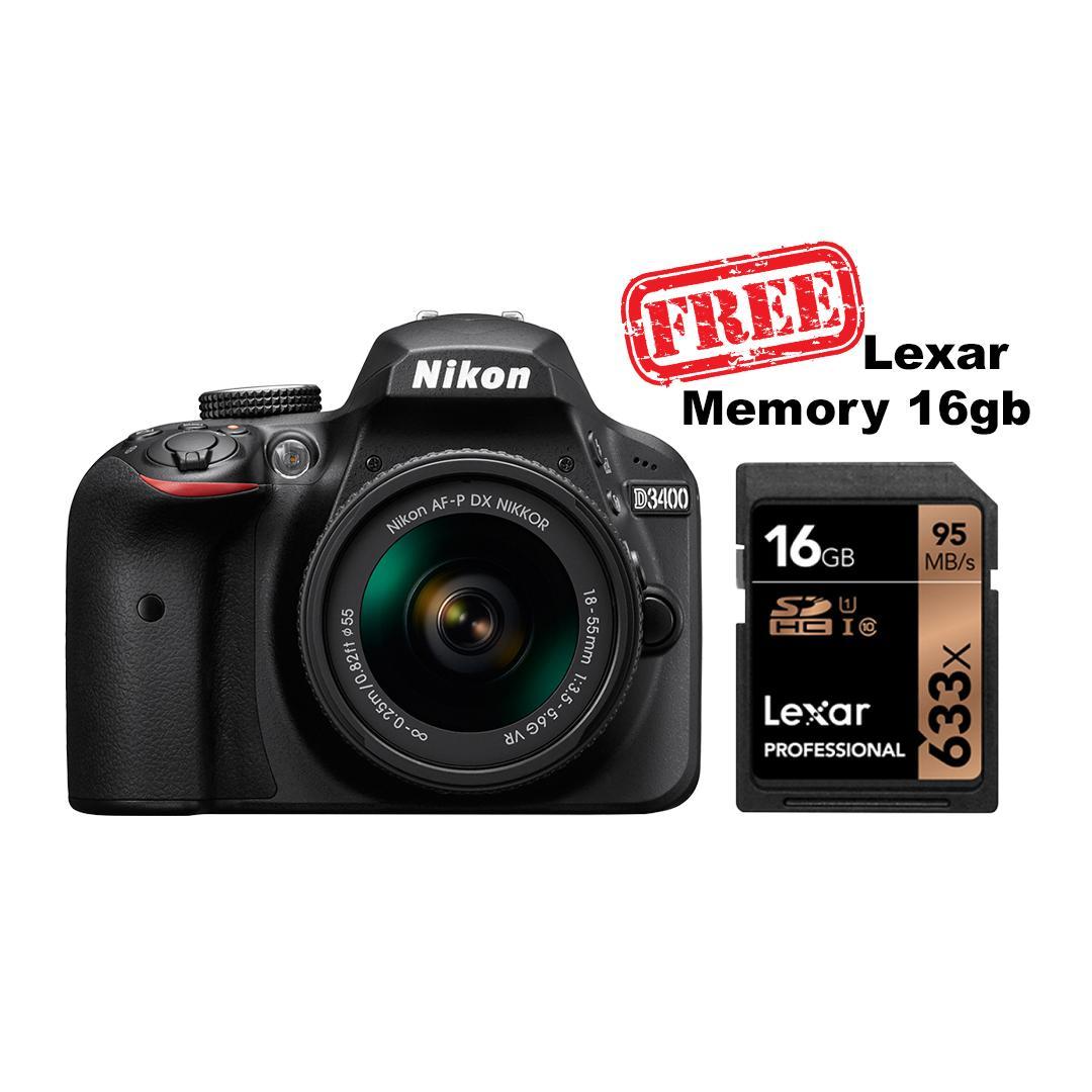 Nikon D3400 Kit AF-P 18-55mm VR 24.2MP Garansi Resmi - Black