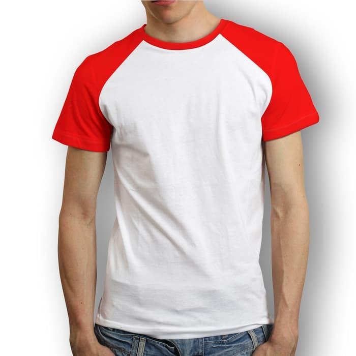 kaos raglan pendek merah putih - kaos raglan merah putih - raglan polos merah putih - kaos raglan