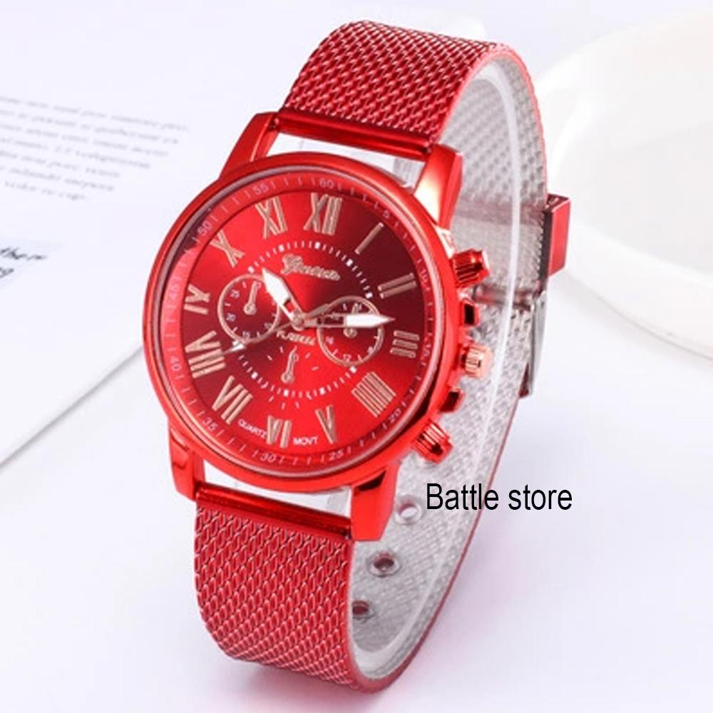 GENEVA 265 Jam Tangan Wanita Analog Fashion Casual Women Strap Plastic Stainless Steel Wrist Quartz Watch
