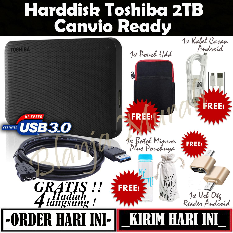 Toshiba Canvio Ready 2TB - HDD / HD / Hardisk Eksternal - Black GRATIS Pouch Harddisk + Botol Air Minum 500ml Plus Sarung Botol + Usb Otg Reader Android dan Kabel Casan Android