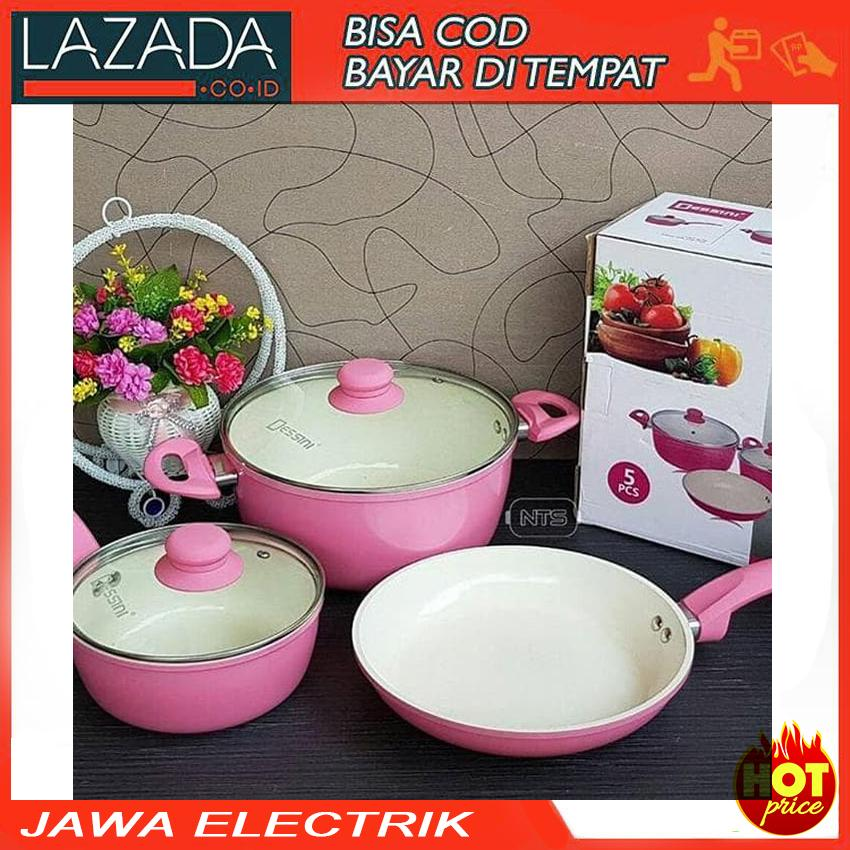 Panci Set Keramik Desini 5pcs - Dessini Italy Ceramic Cook By Jawa Electrik.