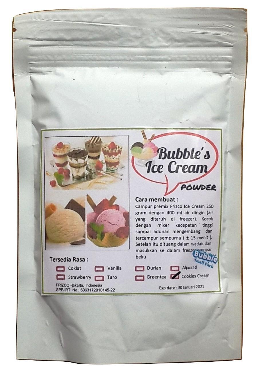 Cream Cookies Premix Ice Cream 250gr Bubbles Bulky Instant Powder, Bahan Bubuk Es Krim Frizco Gitabali By Gitabali.