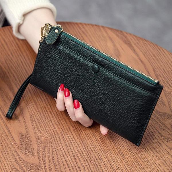 2020 New Purse Female Long Leather Multifunction Header Level Kraft Simple Zipper Clutch Phone Wallet-Music of the Tide