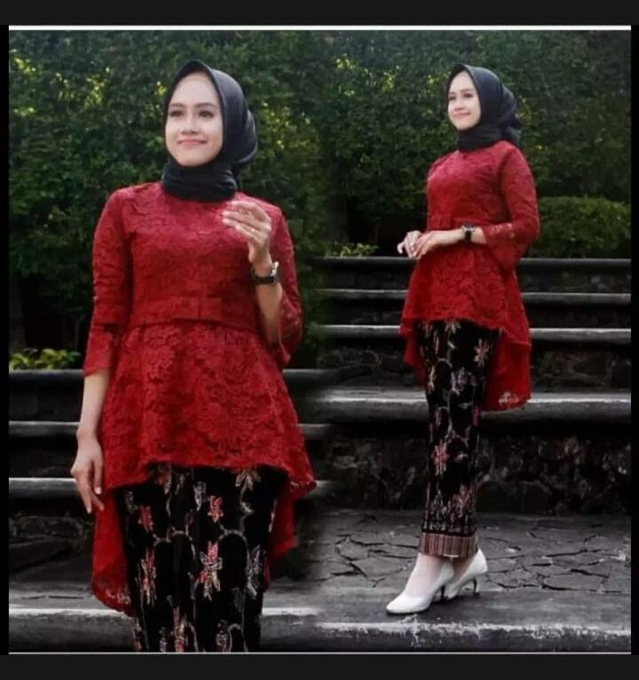 Setelan Kebaya Modern Hijab Remaja Style Modis Cantik brukat AURORAkebaya pesta Kebaya Modernsetelan pakaian baju wanita/ kebaya batik/kebaya tradisional/kebaya wisuda/kebaya keluarga/kebaya AURORA brukat furing higt quality Terbaru
