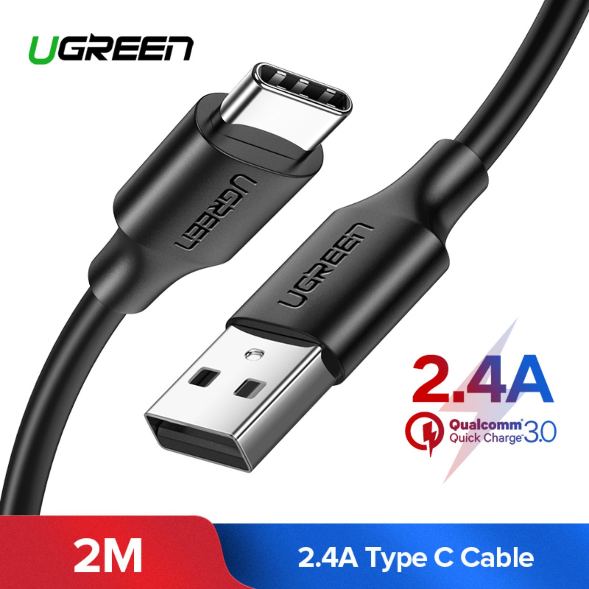 UGREEN Original Kabel Data TYPE C 2Meter USB Type C Charging Cable For Xiaomi pocophone F1, Huawei P20 Samsung S9 Note 8 Fast Charging Charger Cable For Huawei Xiaomi Mi 5 Handphone USB Type-C Cable Samsung s8+ s9+ note8 mate9 pro mate10 pro p10 plus