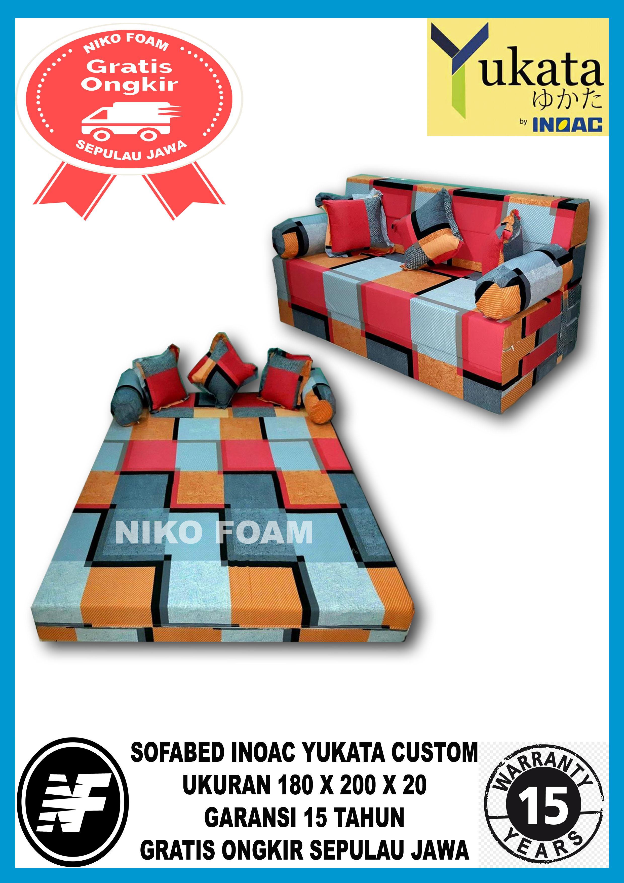 [ GARANSI 15 TAHUN ] Sofa Bed minimalis / Sofa Bed Inoac / Sofa Bed murah / Cover Sofa Bed / Sofa Bed karakter / Sarung Sofa Bed / Sofa Bed lipat /   informa SOFABED / Kasur 3 IN 1  INOAC YUKATA CUSTOM  no 1 (180cm X 200cm X 20cm)  cavali