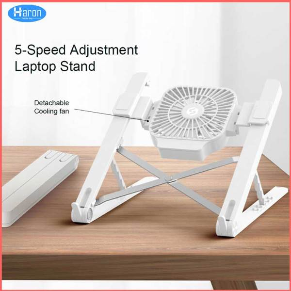 Haron Portable Laptop Stand Aluminum Foldable Macbook Pro Support Adjustable Notebook Holder Tablet Base With Cooling Fan