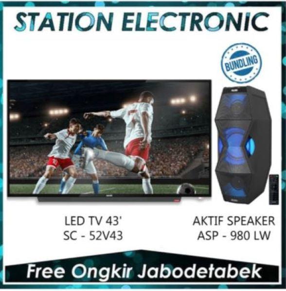 Akari LED TV 43 Inch [Smart Connect] + SPEAKER ASP-980LW - 52V43 - Khusus JABODETABEK