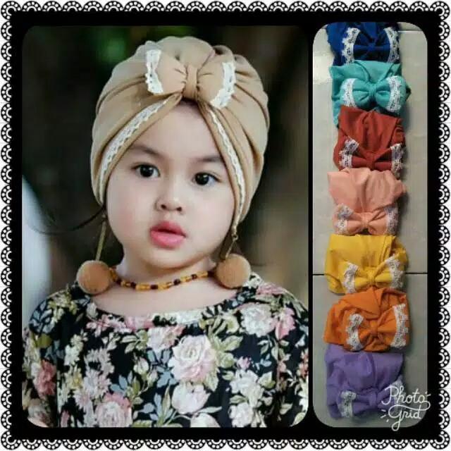 Turban Renda Anting Pompom Bayi / Kids / Kid / Baby / Anak By Morky Store.