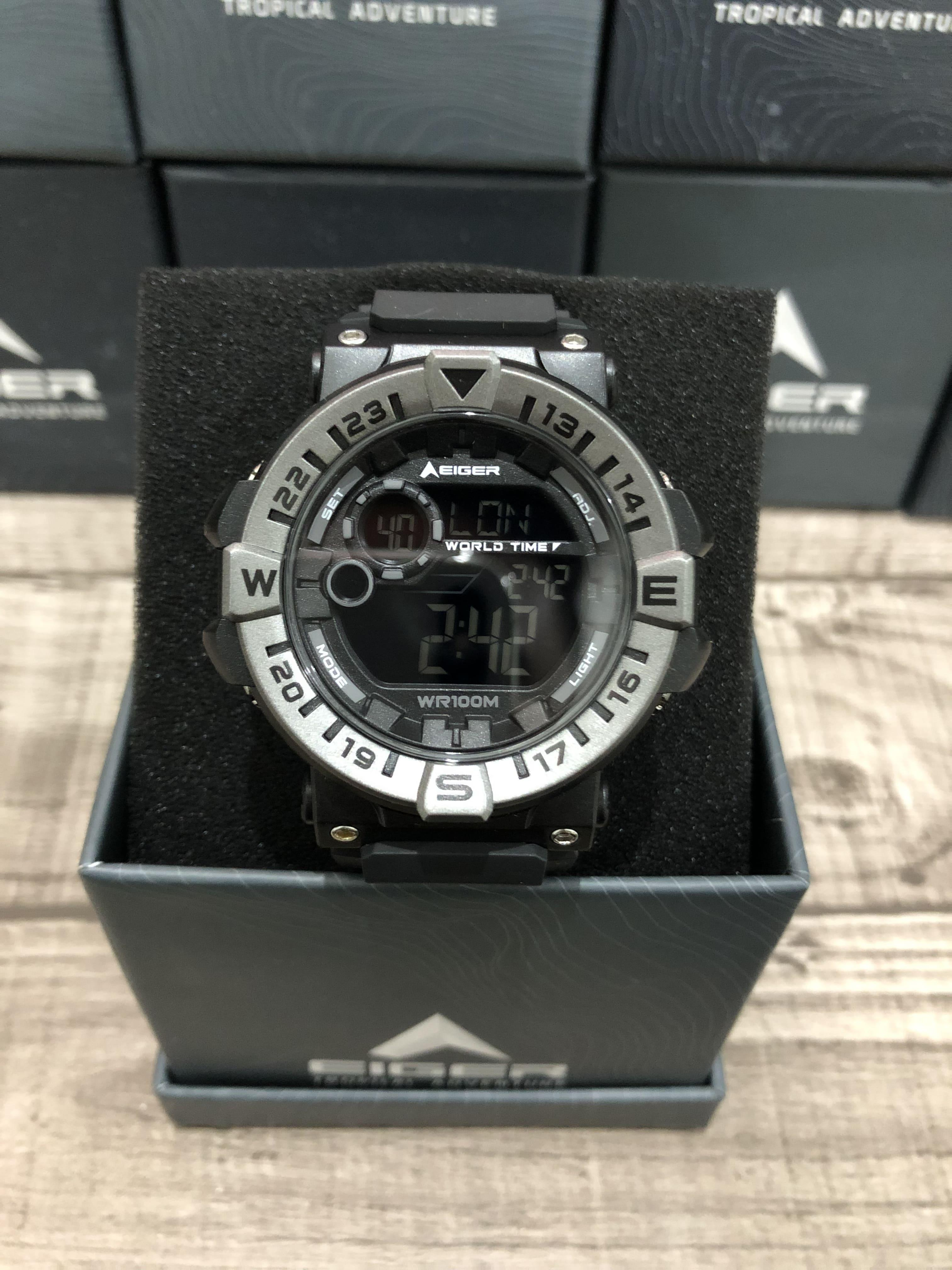 eiger Jam tangan 8290 leschaux black digital watch water resist 100M original produk